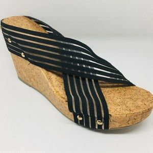 NWOT Cato Cork Wedges With Black Stretchy Fabric